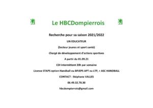 Le HBC Dompierrois Recrute un Éducateur