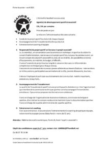 AS Avrillé Handball recrute un(e) Agent(e) de développement