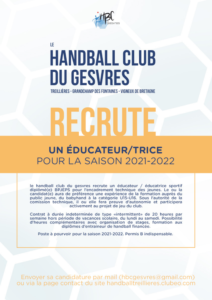 HBC Gesvres : recrutement d'un(e) éducateur/trice
