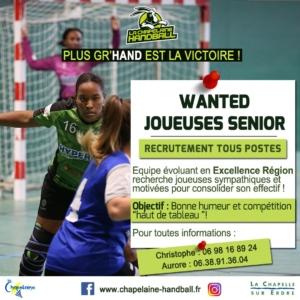 🤾🏻♀️ Recrutement de Seniors Féminines – La Chapelaine Handball 🤾🏻♀️